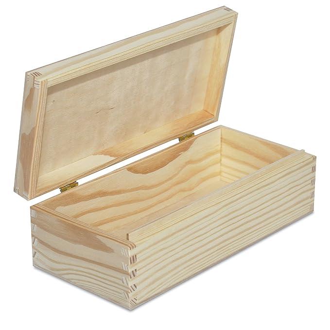 Creative Deco Larga Caja Madera para Decorar   24 x 11,3 x 7,2 cm   con Tapa y Cerradura   Decoracion Almacenaje Herramiente Decoupage Objetos de Valor ...