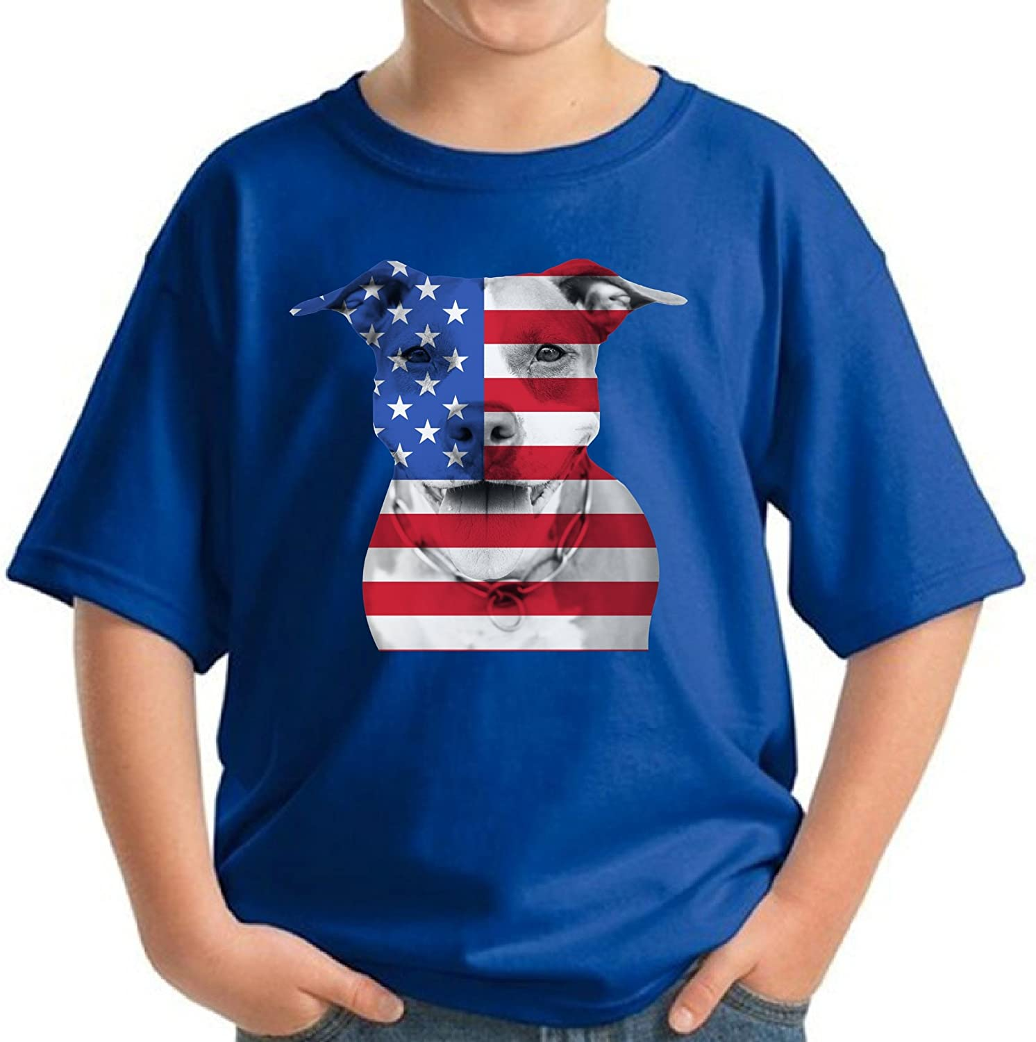 Pekatees USA Shirts for Youth American Pitbull T Shirt Patriotic Gifts for Kids