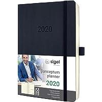 SIGEL C2020 Tageskalender 2020, ca. A5, schwarz, Softcover Conceptum - weitere Modelle