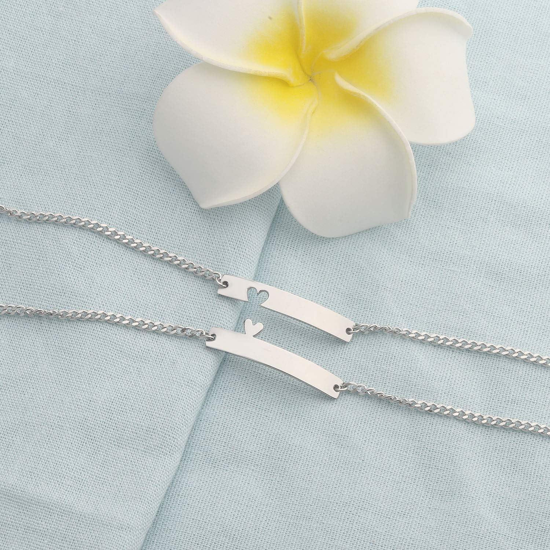 bobauna 2pcs Heart Love Bar Bracelet Set Heart Jewelry Gift for Best Friends Couple Mother Daughter Aunt Niece