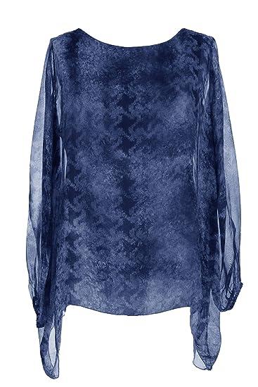 Italian Abstract Print Lagenlook Silk Batwing Top