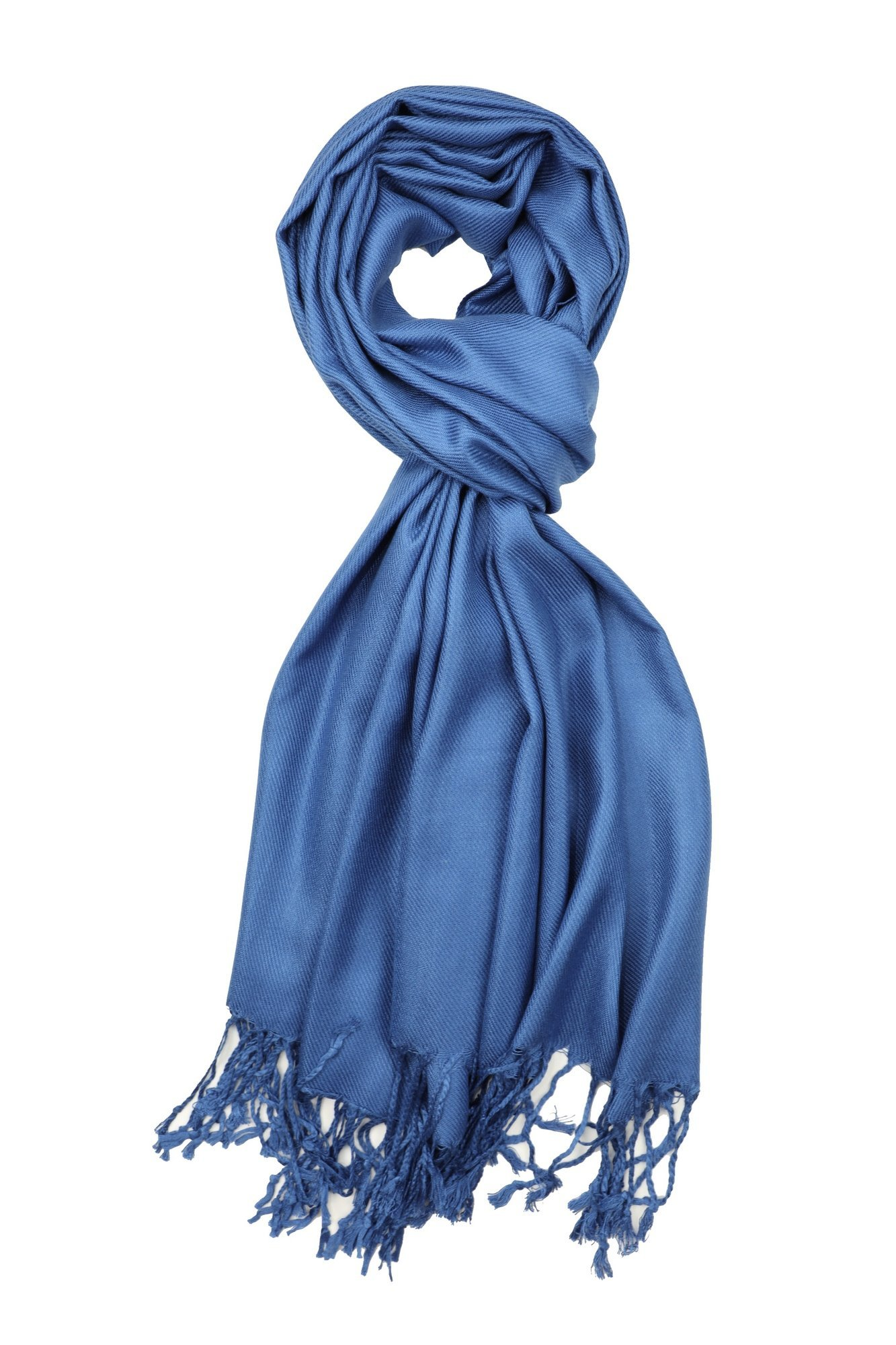 Achillea Large Soft Silky Pashmina Shawl Wrap Scarf in Solid Colors (Cobalt Blue) by Achillea (Image #2)