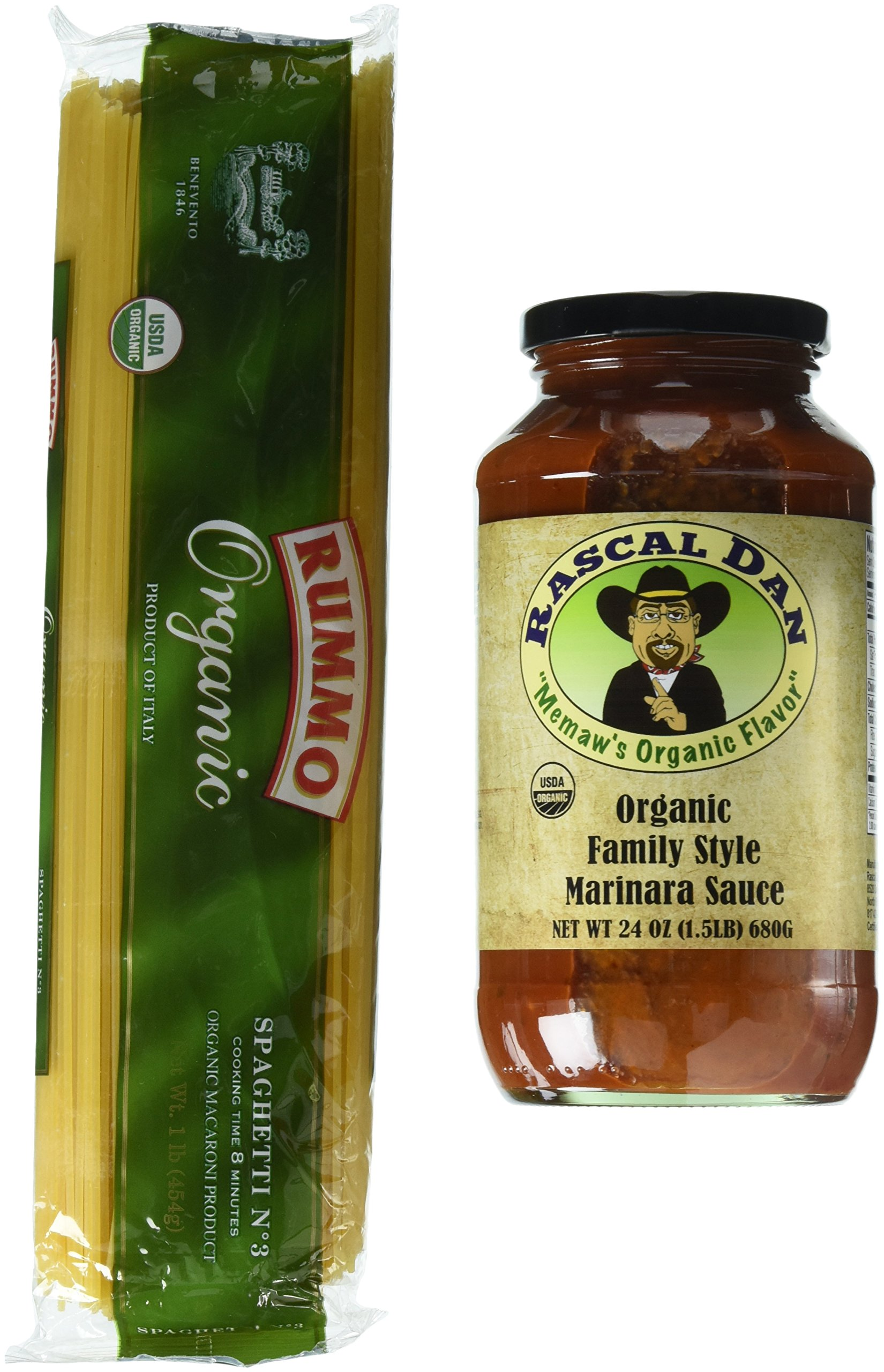 Rascal Dan Organic Food Products Pasta Family Meal with Style Marinara Sauce