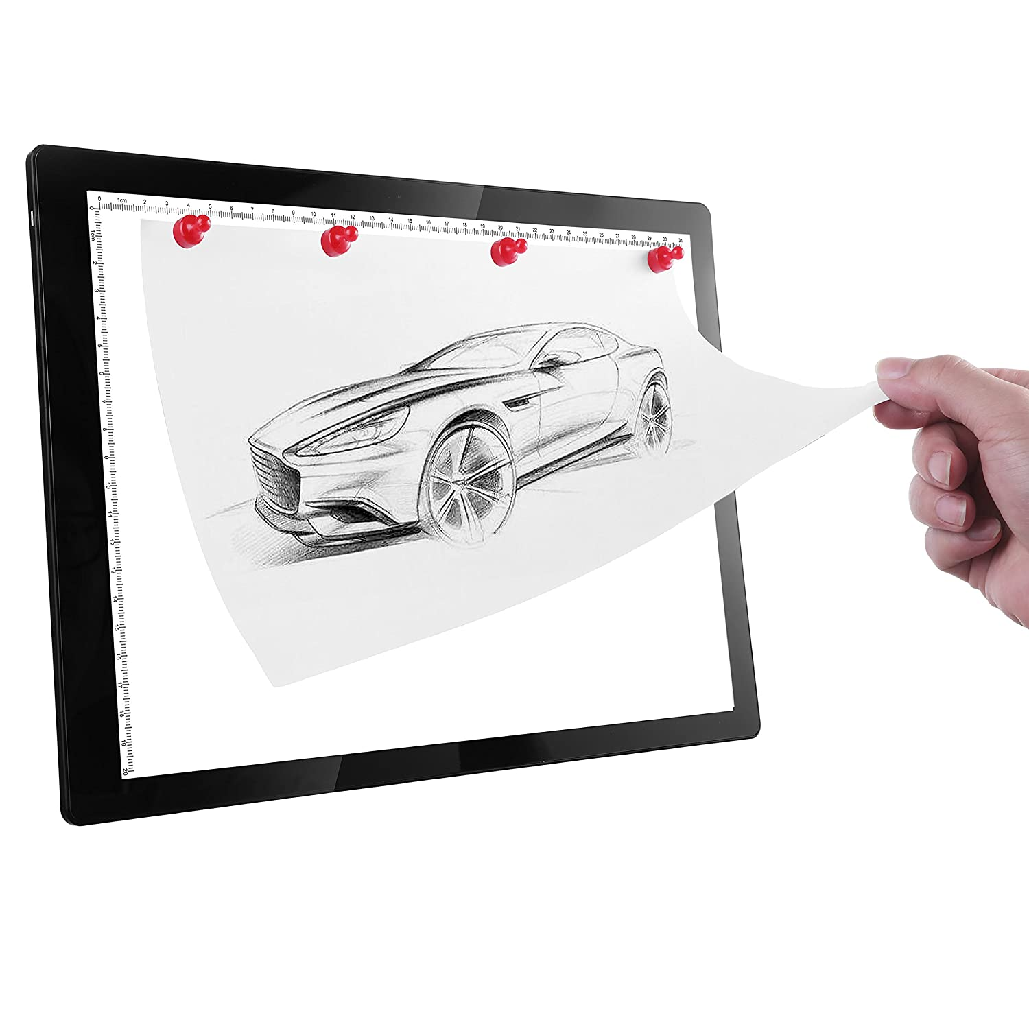 Drawing Tracing Pad Magnetic LED Light Box - New A4 LED Copy Board Artcraft Ultra-Thin Physical Buttons Control with Memory Function, Powered USB Adapter for Gifts (A4, Black(Buttons Type)) EIKAI