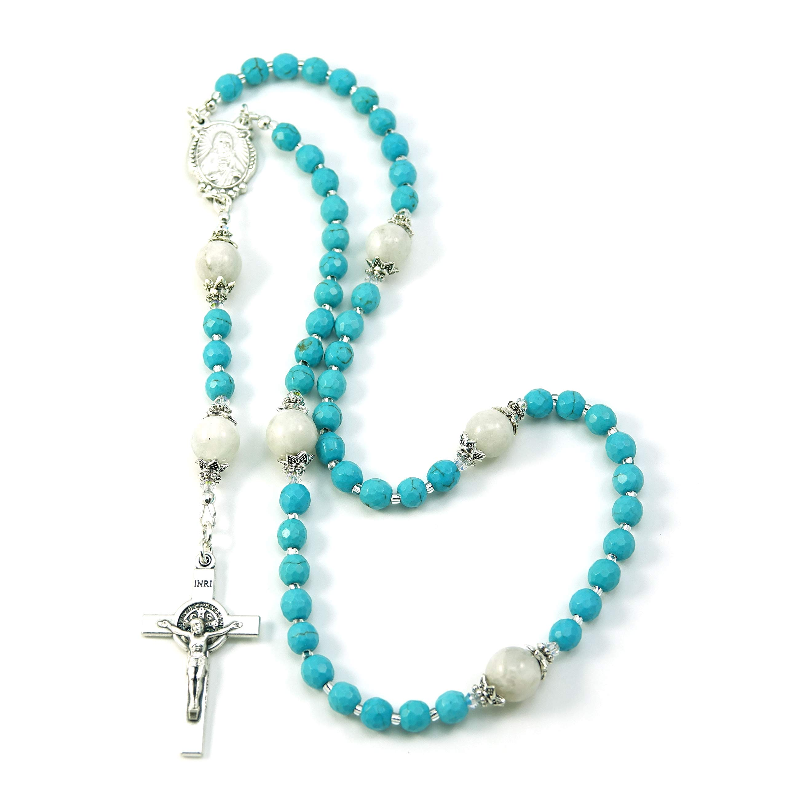 Silver Inches Catholic Prayer Beads Saint Benedict Turquoise Moonstone Catholic Rosary with Swarovski Beads Blessed with Anointing Oil by Silver Inches