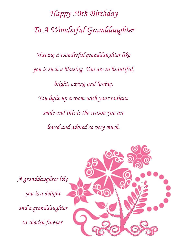 Tarjeta de 50 cumpleaños para nieta: Amazon.es: Oficina y ...