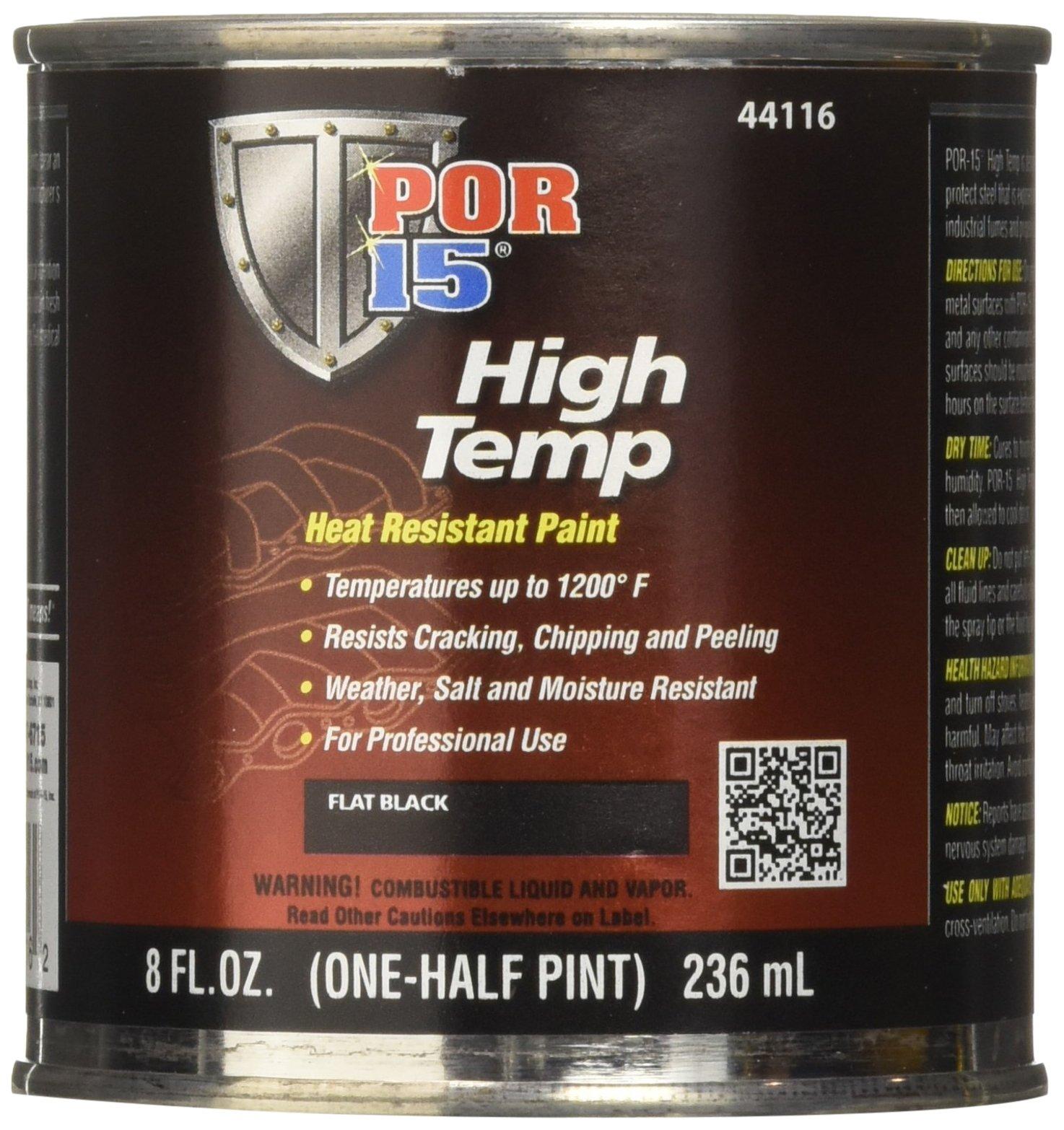 POR-15 44116 Black High Temperature Paint Flat - 8 fl. oz.