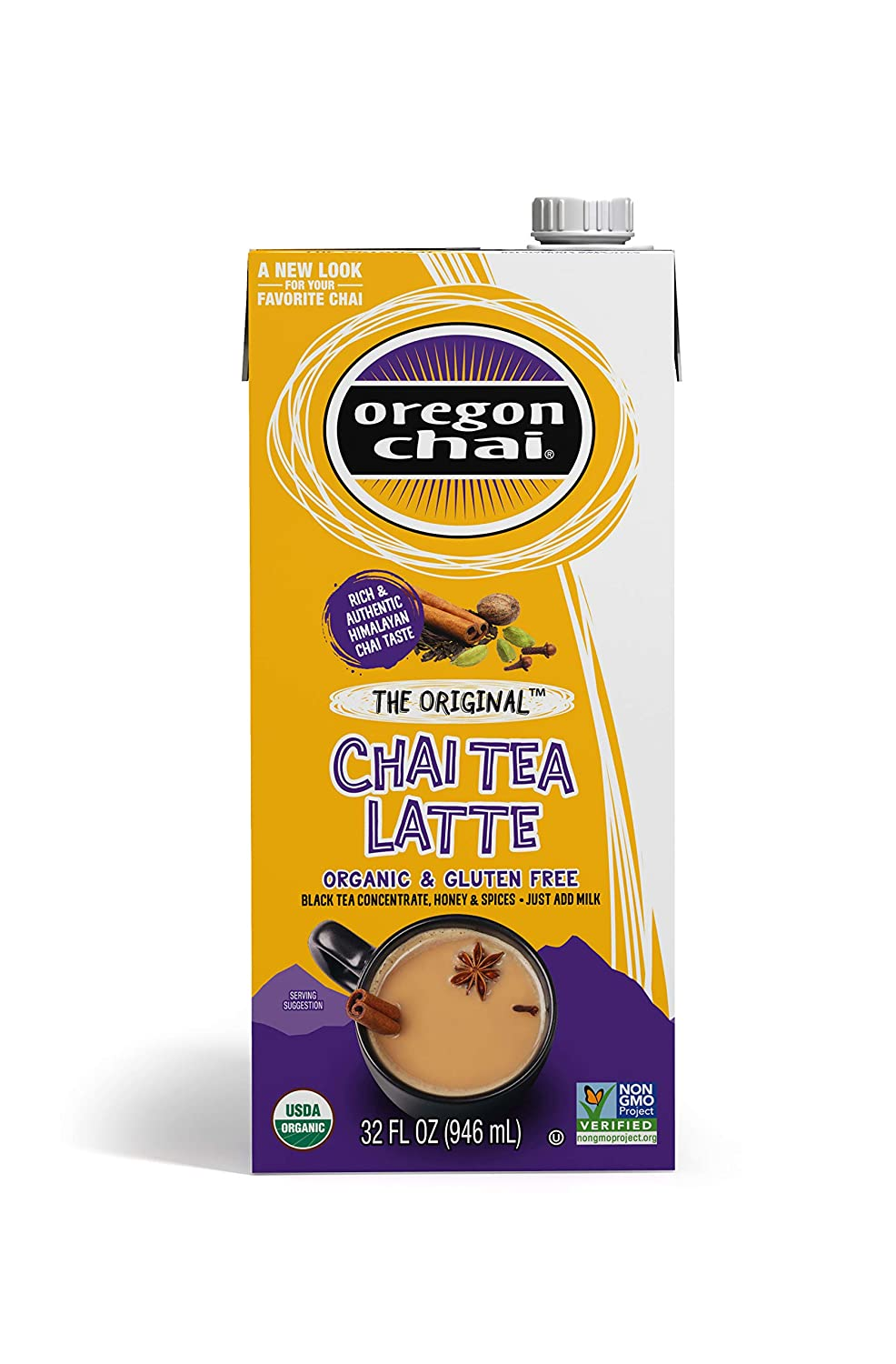 Oregon Chai Concentrate Original 32-Ounce Boxes (Pack of 6),Liquid Chai Tea Concentrate, Spiced Black Tea For Home Use, Café, Food Service (packaging may vary)