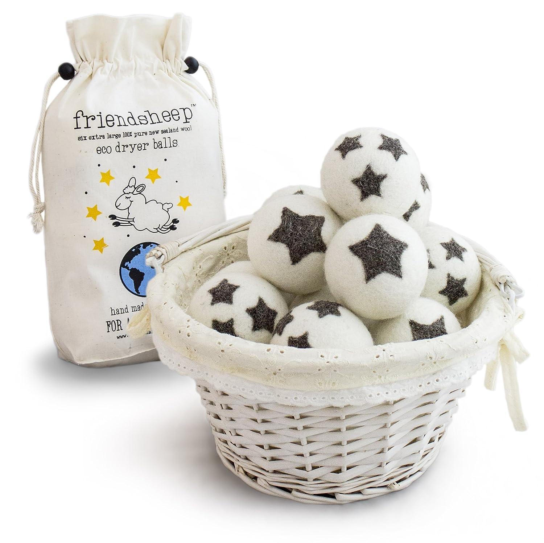 Friendsheep palle asciugatrice lana organica Eco - qualità Premium Pack 6-100% Handmade, Fair Trade, organico, nessun residuo di stoffa