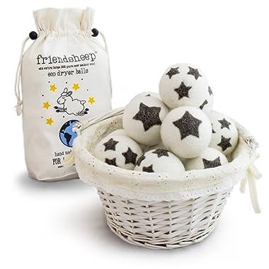 Friendsheep Organic Eco Wool Dryer Balls - 6 Pack - 100% Handmade, Fair Trade, Organic, No Lint - Premium Quality