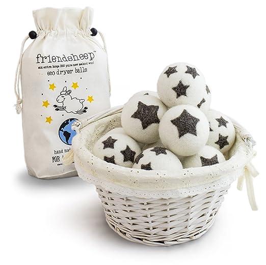 Friendsheep Organic Eco Wool Dryer Balls - 6 Pack - 100% Handmade, Fair Trade, Organic, No Lint - Premium Quality best dryer balls