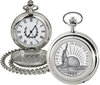 product image for Coin Pocket Watch with Quartz Movement | Statue of Liberty Commemorative Half Dollar | Genuine U.S. Coin | Sweeping Second Hand, Roman Numerals | Certificate of Authenticity