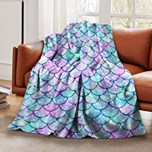 """LELEMATE Mermaid Tail Scales Throw Blanket Soft Lightweight Flannel Blanket Fuzzy Sofa Fleece Blanket for Use in Bed Living Room Home Beachh Couch Travel 50""""x40"""" for Kid Baby"""