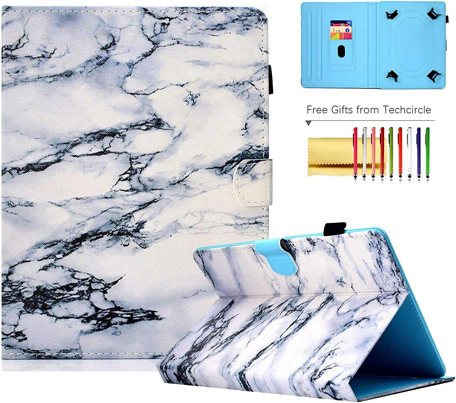 8-inch Tablet Case, Techcircle Pretty Folio Stand Cover w/ [Pencil Holder] [Card Slots] Magnetic Protective Case for Lenovo/Samsung Galaxy Tab 8.0 Series, iPad Mini 7.9, Fire HD 8, White Marble