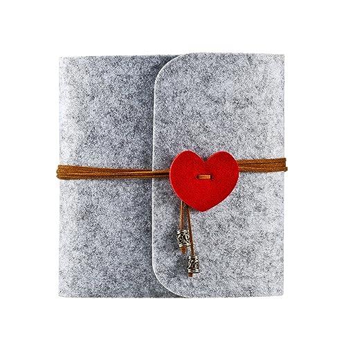 Foonii Album de photos, album photo de famille de bricolage Album de photos d'anniversaire, album de mariage-60 pages, fait de feutre (Gris)