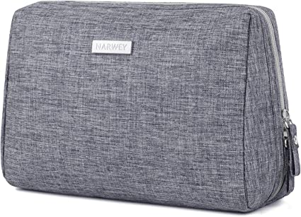 Large Makeup Bag Pouch Travel Cosmetic Organizer for Women and Girls (Grey)