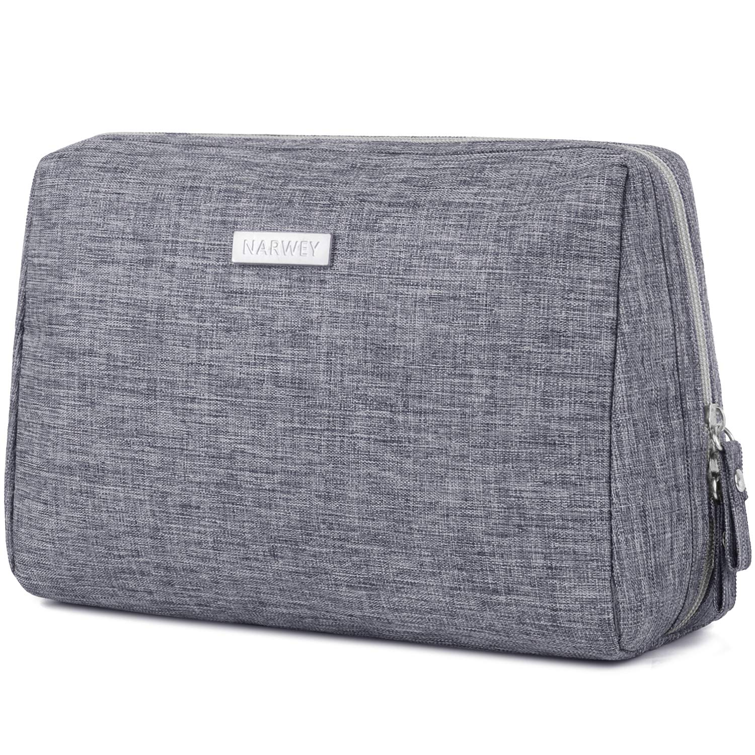 Large Makeup Bag Zipper Pouch Travel Cosmetic Organizer for Women and Girls (Large Gray)