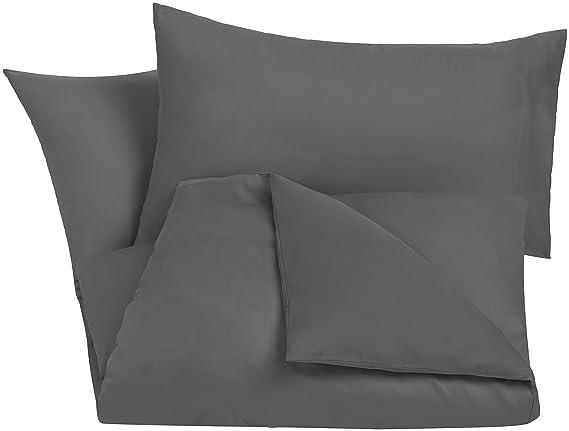 AmazonBasics - Juego de funda nórdica de satén de algodón de 400 hilos - 230 x 220 cm/ 50 x 80 cm x 2, Gris oscuro: Amazon.es: Hogar