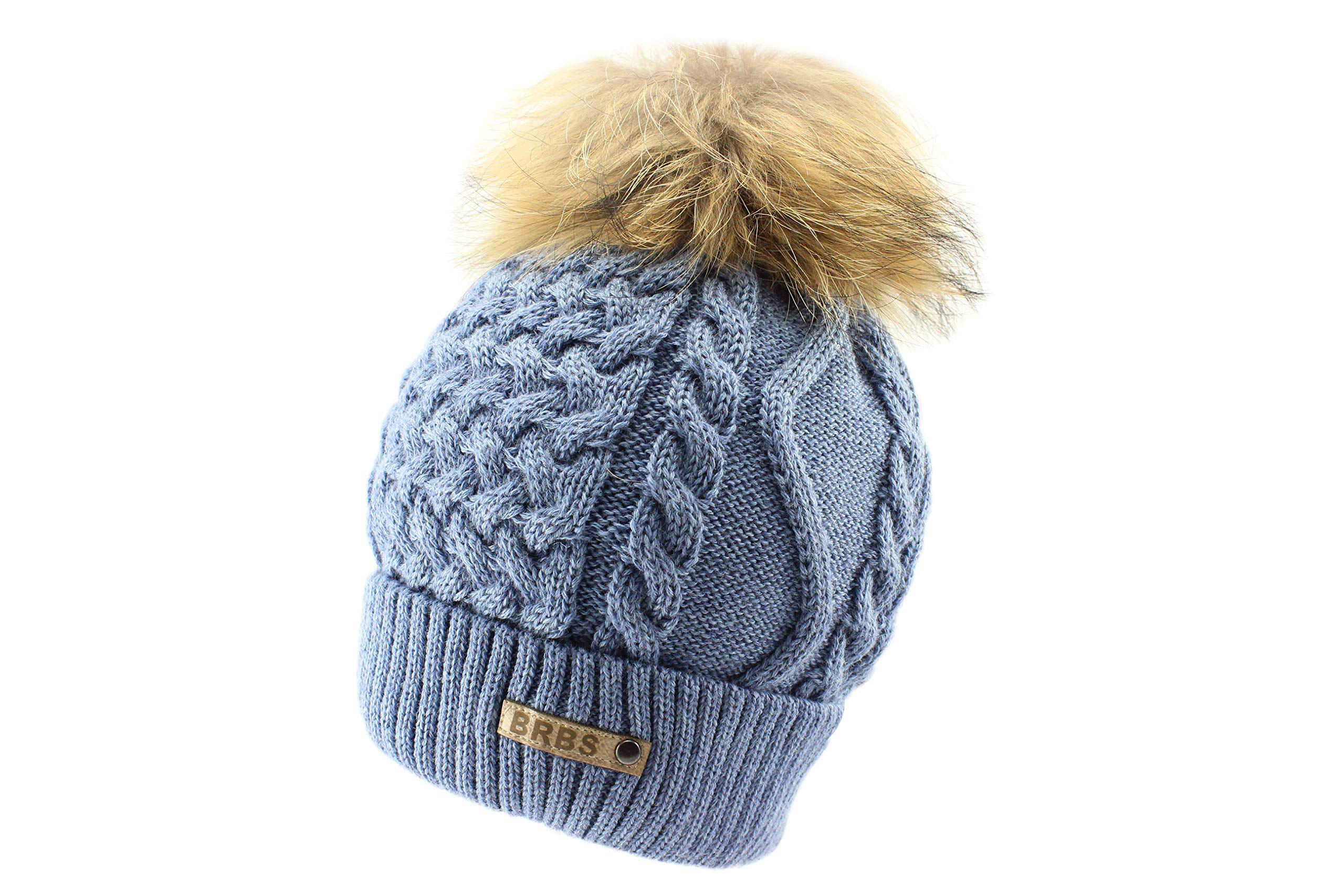 Barbaras Blue Warm Winter Natural Fur Pom Pom Beanie Hat