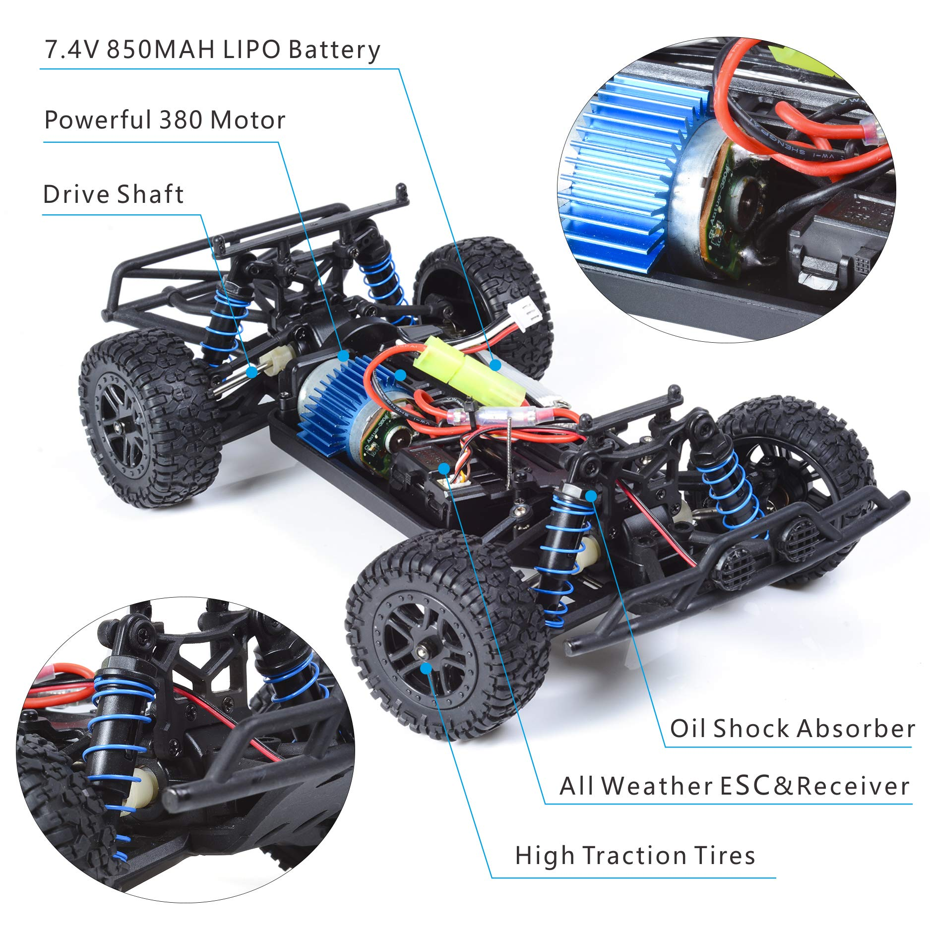 EXERCISE N PLAY RC Car, Remote Control Car, Terrain RC Cars, Electric Remote Control Off Road Monster Truck, 1:18 Scale 2.4Ghz Radio 4WD Fast 30+ MPH RC Car, with LED Ligh, 2 Rechargeable Batteries by EXERCISE N PLAY (Image #2)