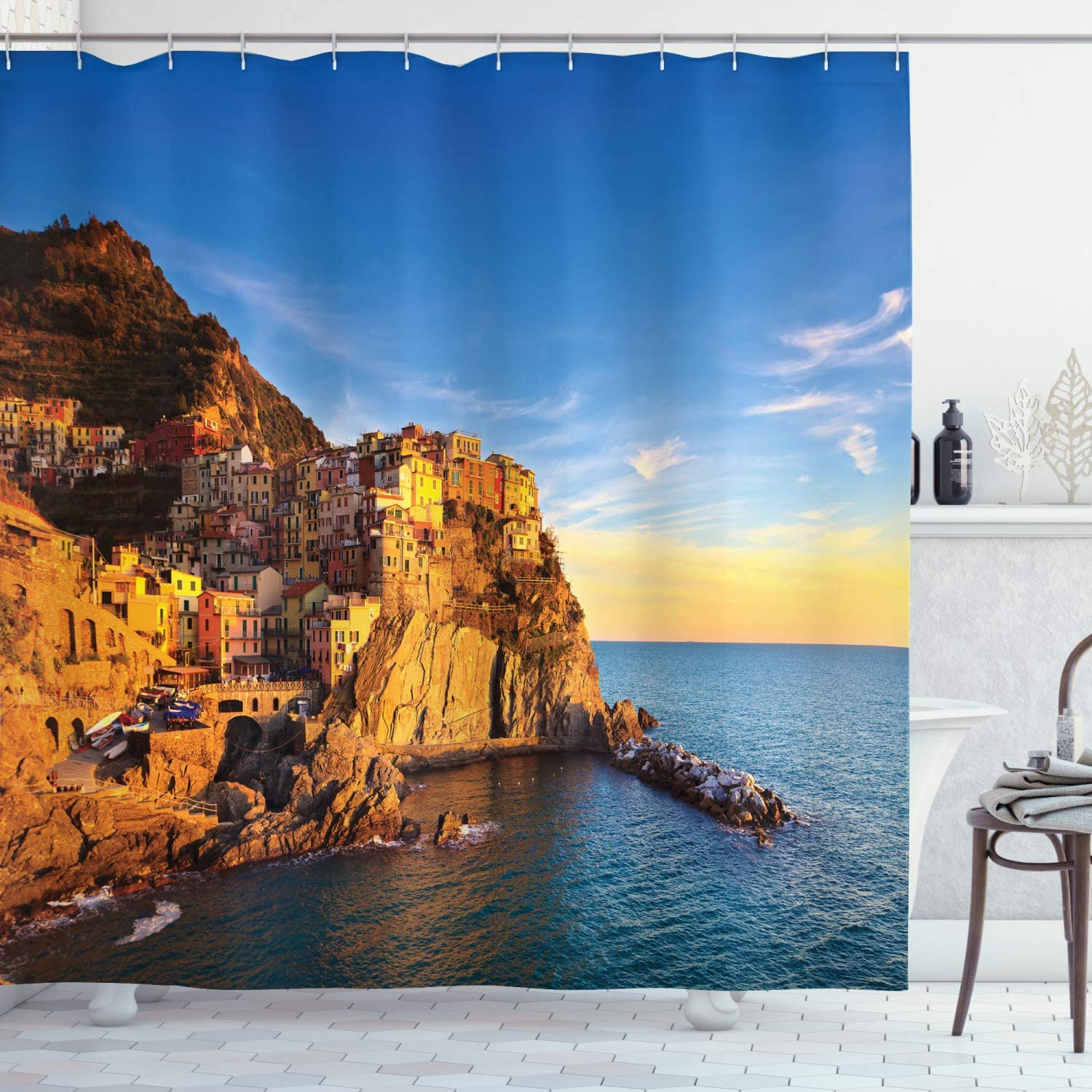 Fabric Bathroom Decor Set with Hooks Blue Cream Italian Mediterranean Village on Cliffs in Five Lands Seascape Panorama Ambesonne Scenery House Decor Shower Curtain by 70 Inches