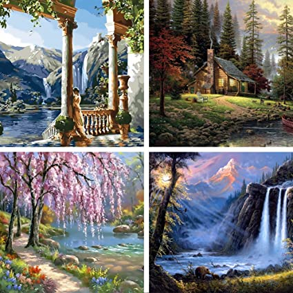 Goupsky waterfall picture frames village scenery wall art classical landscape canvas prints cherry