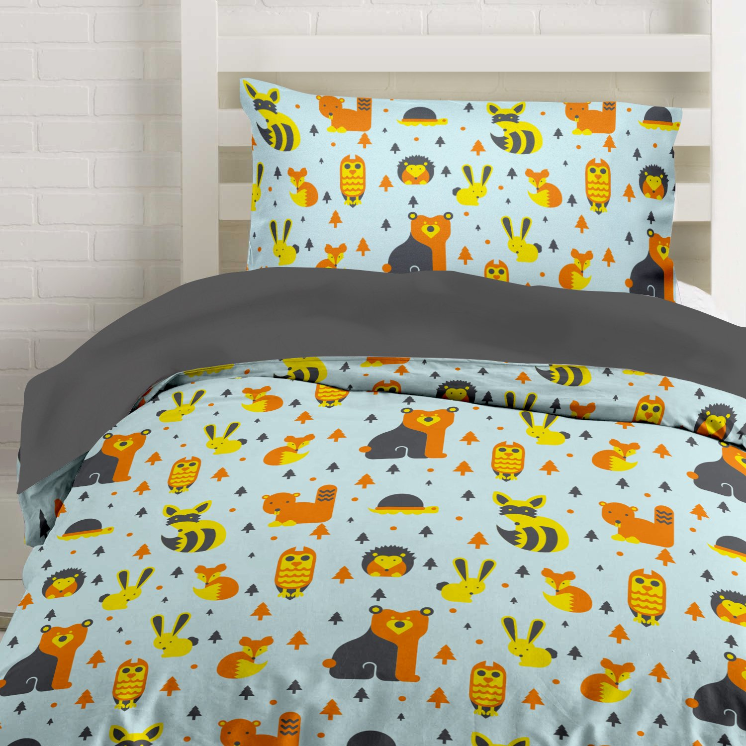 Twin Woodland Creatures Microfiber Duvet Bedding Set with Owls, Foxes and Bears Oh My! by Where The Polka Dots Roam (68'' L X 86'' W)
