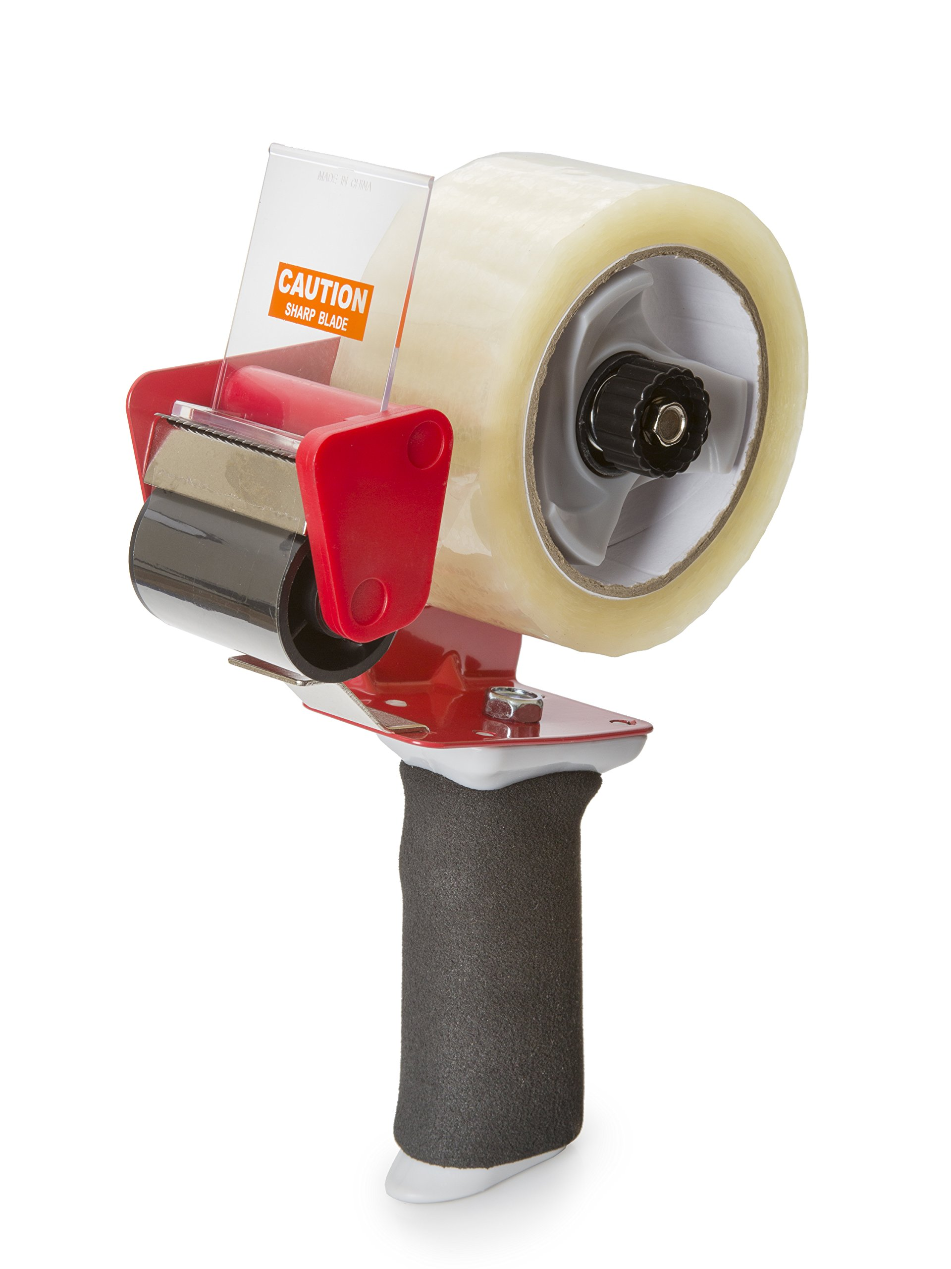 Heavy Duty Packing Tape Dispenser with Cushion Grip for Easy Application | Comes with 2'' wide Clear Tape, 110 Yds Long