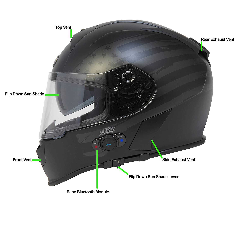 f47a0cbf Amazon.com: Torc T14B Bluetooth Integrated Mako Full Face Helmet with Flag  Graphic (Flat Black, Large): Automotive