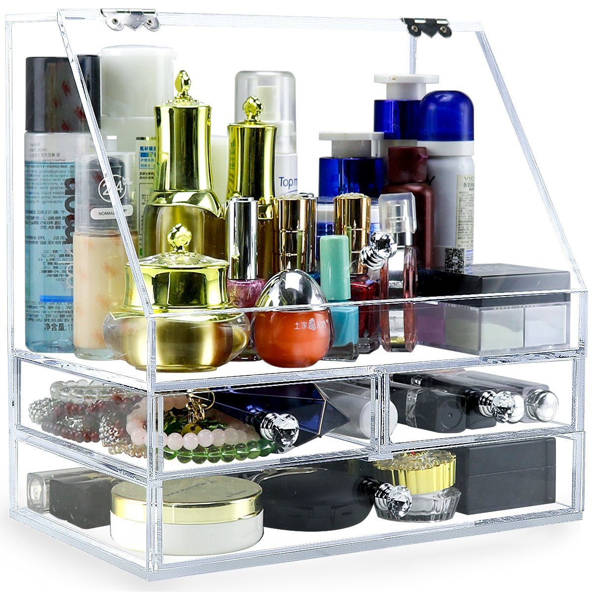 4mm Acrylic Makeup Organizer with Lid, Clear Bathroom Vanity Organizer with 3 Drawer, Jewelry Holder Box to Tidy Your Cosmetics, Brush tools, Skin Care - NEWCREA