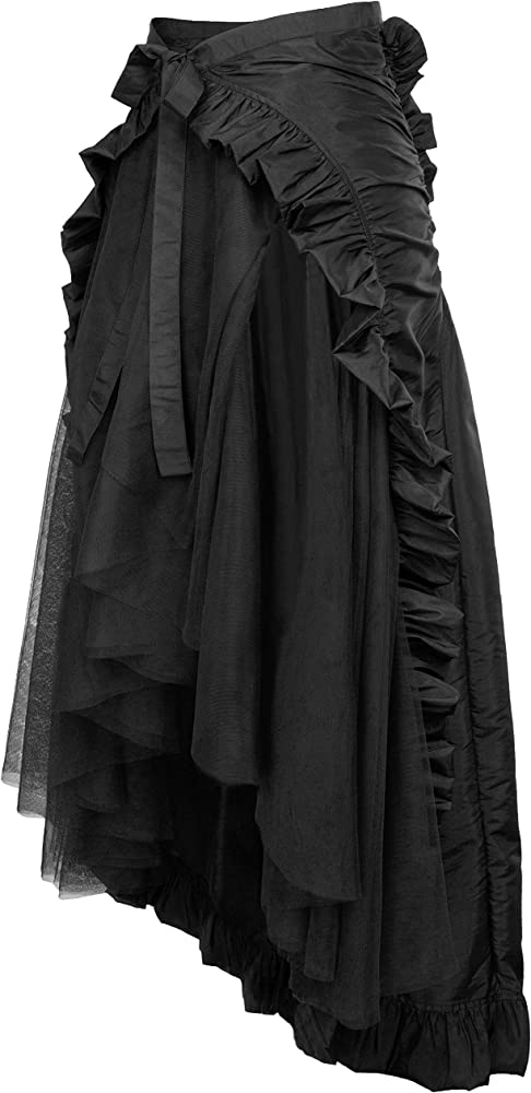 Womens Steampunk Gothic Clothing Vintage Black Lace High Waist Skirt