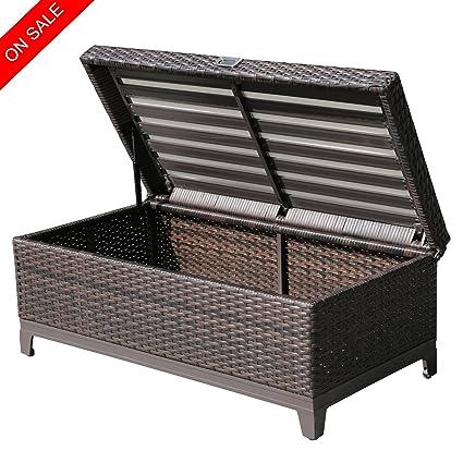 PATIOROMA Outdoor Patio Wicker Storage Deck Box U0026 Garden Bench Deck Box  With White Seat Cushion