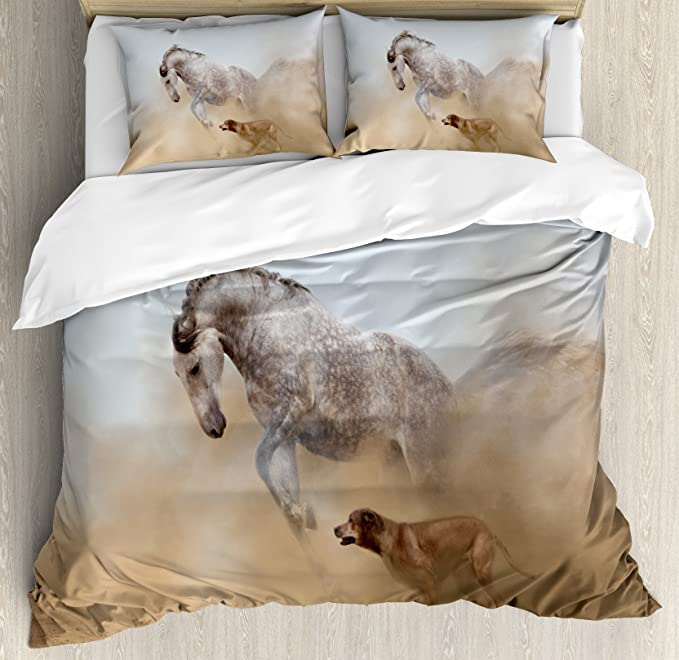 Amazon Com Ambesonne Horses Duvet Cover Set Lusitanian Horse Playing With Dog In Sand Storm Wild Fast Companion Friendship Decorative 3 Piece Bedding Set With 2 Pillow Shams King Size Cream Grey Home
