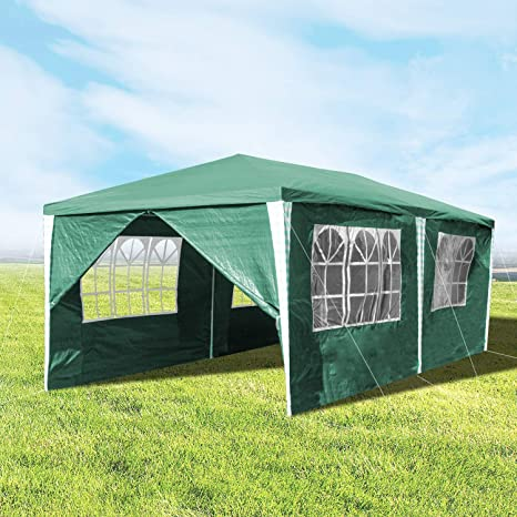 Hengda 3x6m Gazebo, Carpas Impermeables Pabellón, Carpa de Jardín con 6 Paredes Laterales para la Fiesta de Bodas Patio Camping, Verde
