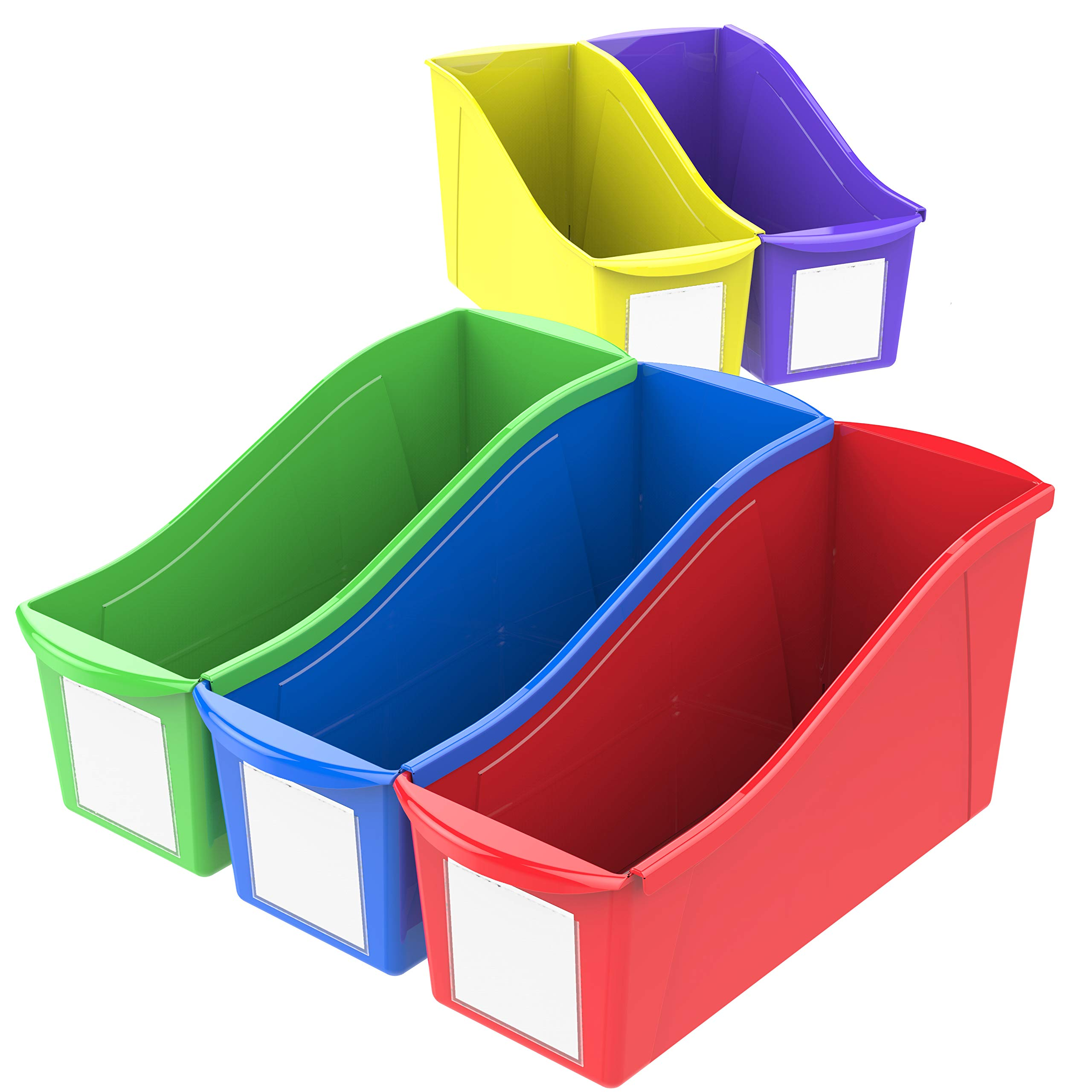Storex Large Book Bins, 14.3 x 5.3 x 7.1 Inches, Assorted Colors, 30-Pack by Storex