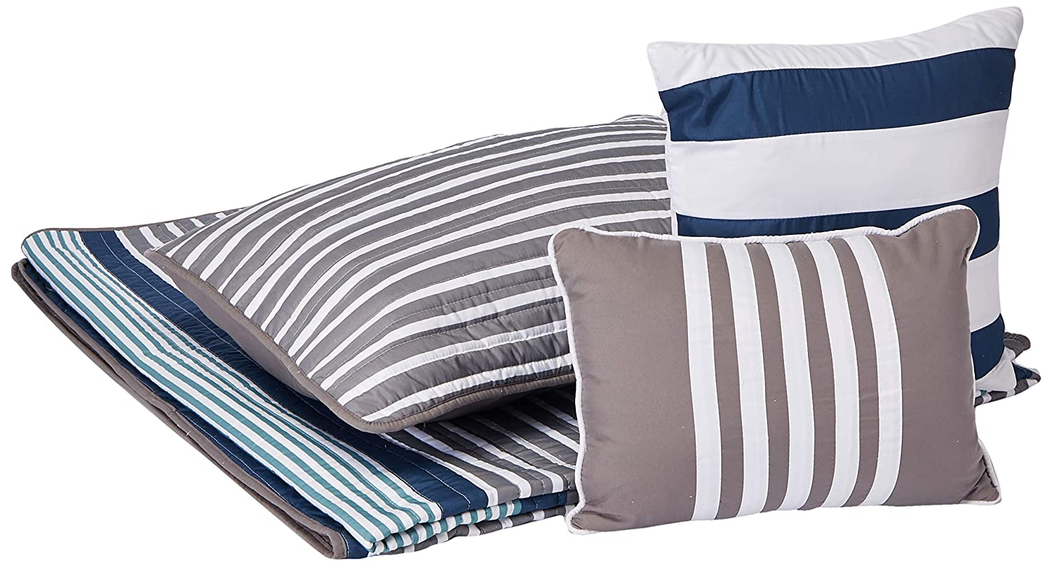Intelligent Design Paul Twin/Twin XL Size Teen Boys Quilt Bedding Set - Blue Grey, Striped – 4 Piece Boys Bedding Quilt Coverlets – Ultra Soft Microfiber Bed Quilts Quilted Coverlet