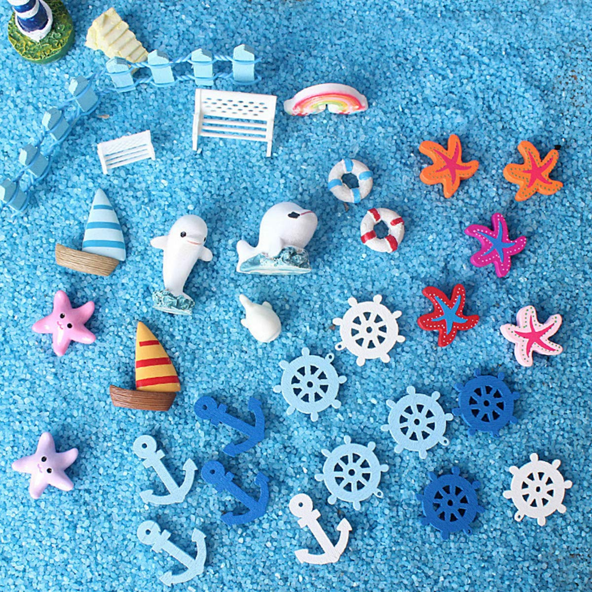 Miniature Garden Ornaments, Ocean Style Dollhouse Decoration, 60 Pcs Miniature Ornaments Kit Set DIY Fairy Garden Dollhouse Decoration