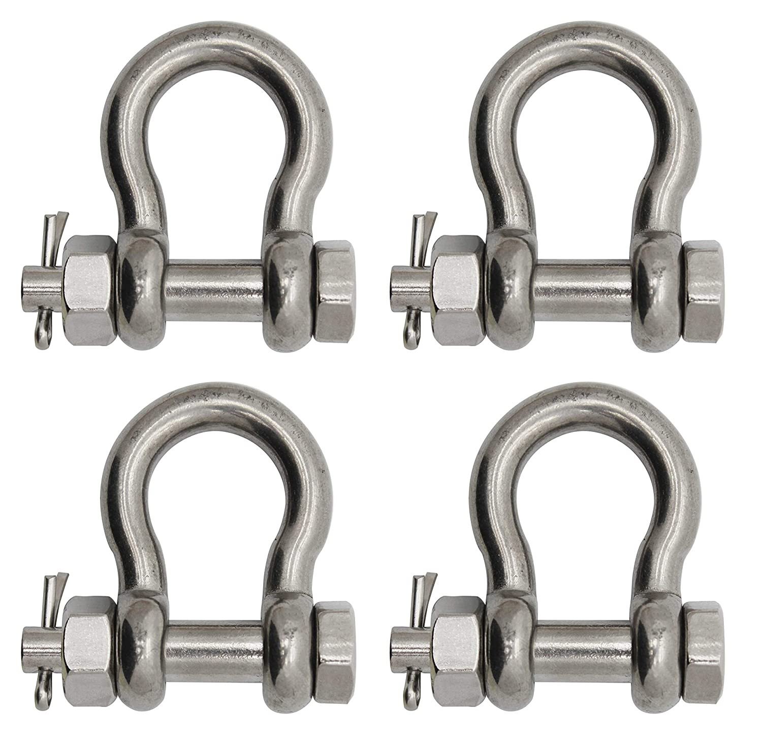 4-Pack Extreme Max Silver Standard 3006.8375.4 BoatTector Stainless Steel Bolt-Type Anchor Shackle-7//16