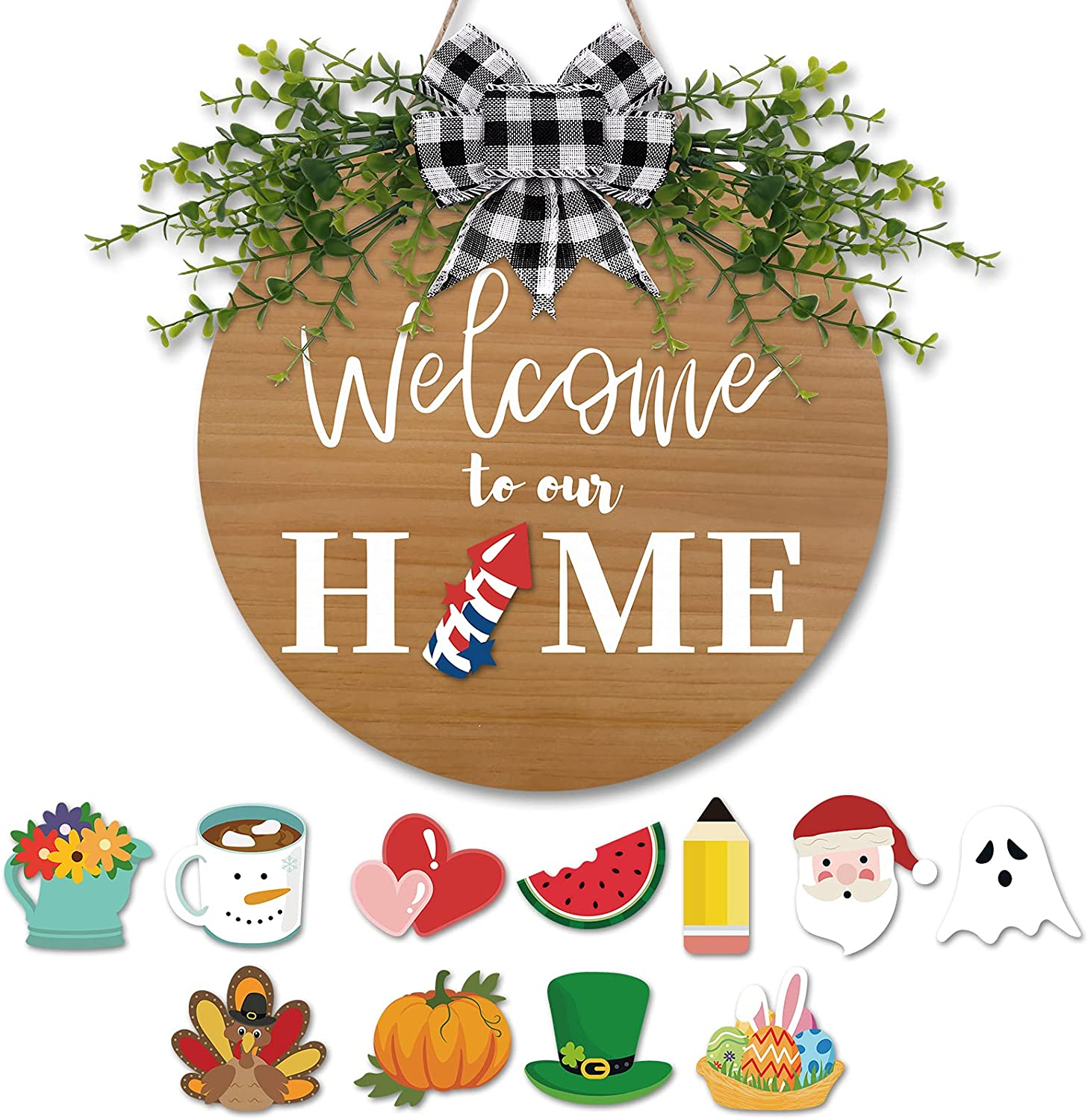 4th of July Farmhouse Welcome Home Door Sign Wooden Rustic Front Door Decoration Seasonal Round Door Hanger Farmhouse Porch Home Wreath Sign with Buffalo Plaid Decor 12 Inches Brown