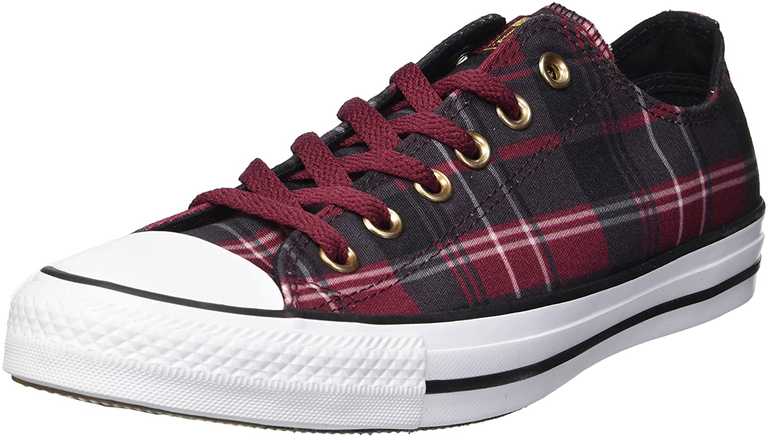 Converse Women's Chuck Taylor All Star Plaid Low Top Sneaker B078NGNJRK 5 M US|Dark Burgundy/Black/White