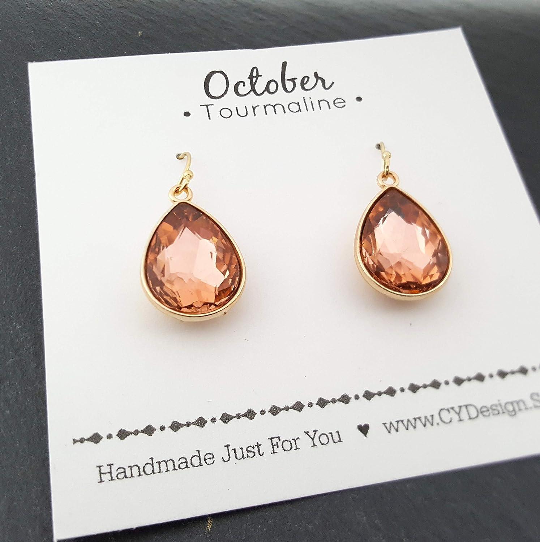 October Birthstone Earrings - Pink Tourmaline Crystal 14k Gold Filled Teardrop