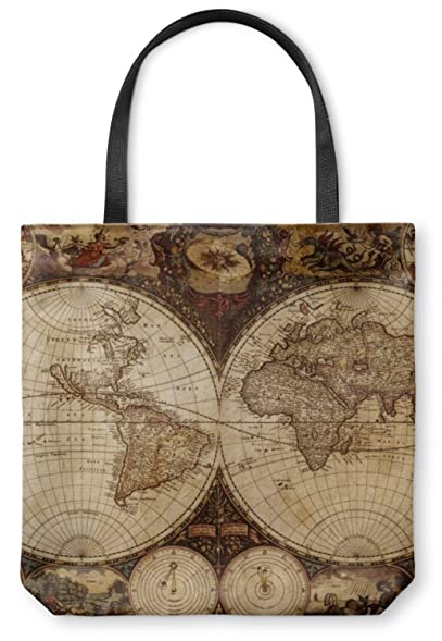 Amazon vintage world map canvas tote bag clothing vintage world map canvas tote bag small 13quot gumiabroncs Choice Image