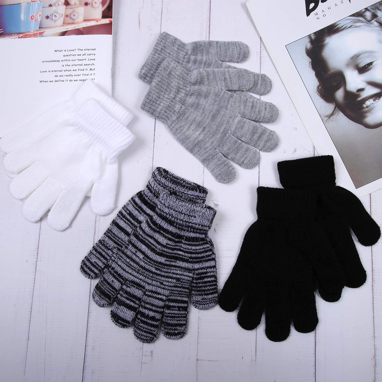 Cooraby 20 Paar Kinder Winterhandschuhe gestrickt Magic Vollfinger Handschuhe f/ür Kinder Jungen M/ädchen
