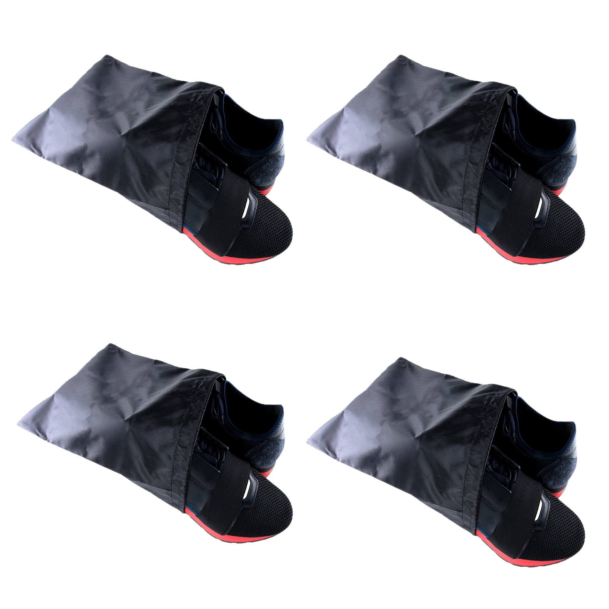 Waterproof Nylon Dust-Proof Travel Bags with Drawstring Closure for Shoes Footwear Protection, Space Saving, Closet Home Organization Gift 15'' x 12'' (3 Pack)