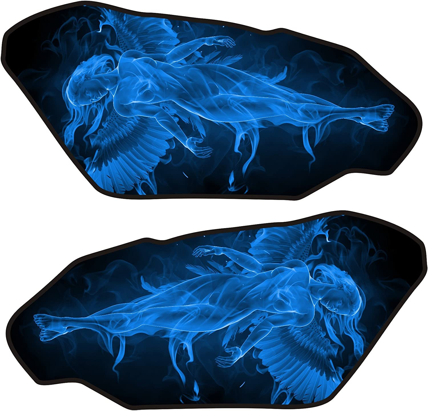 Size is 4.4 in tall x 9.3 in wide Universal Fire Angel Blue 3d Gel Motorcycle Gas Tankpad side protectors