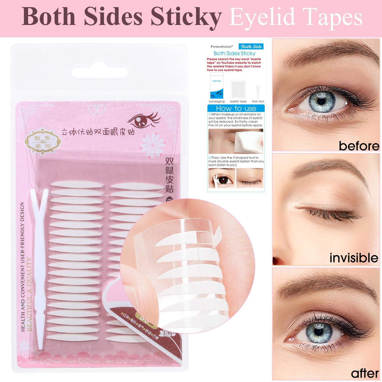 Both Sides Sticky Ultra Invisible Double Eyelid Tape Stickers Instant Eyelid Lift Without Surgery, Medical Grade Latex Free Hypoallergenic, Perfect for Hooded, Droopy, Uneven, Mono-eyelids,120 Pairs
