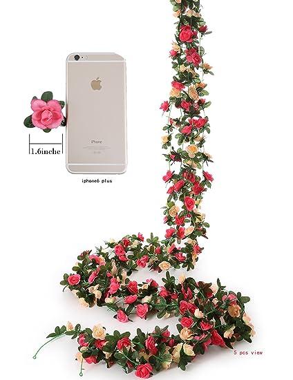 Amazon felice arts 4pcs artificial flowers 82 ft fake plastic felice arts 4pcs artificial flowers 82 ft fake plastic fabric silk artificial rose flower wisteria ivy junglespirit Gallery