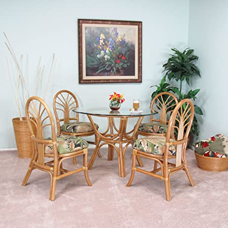 Premium Rattan Dining Furniture Sundance 5PC Set Tommy Bahama Breeze Coal  Fabric (Honey Finish)