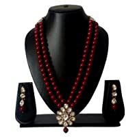 Catalyst Red Pearl & Kundan Necklace Set With Earrings For Women