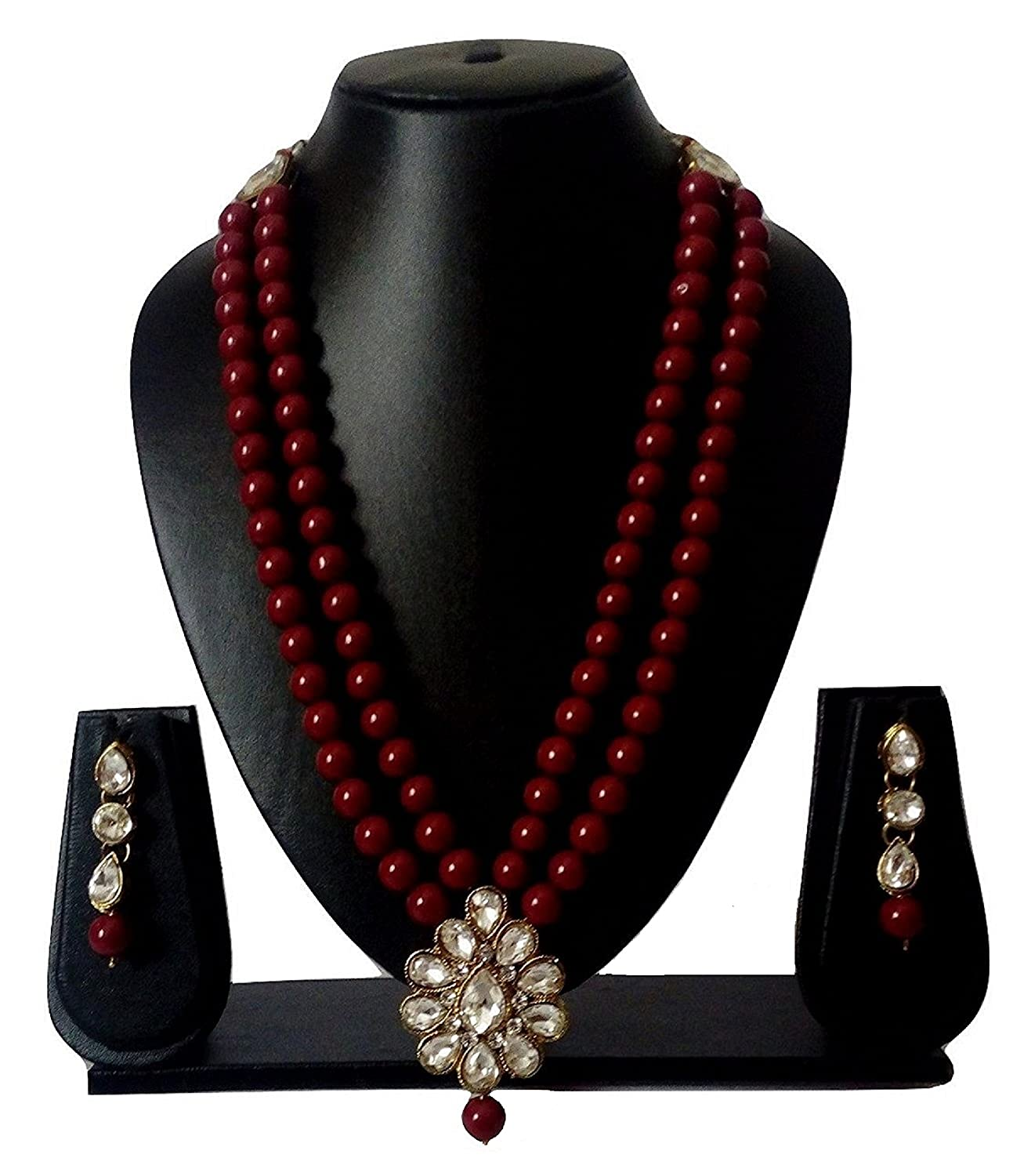 CATALYST Stylish Maroon Pearl Necklace Set with